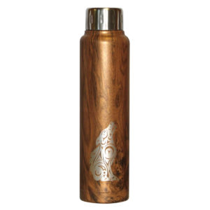 Brown Wood Grain insulated bottle with engraved Wolf Totem artwork.