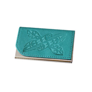Hummingbirds Business Card Holder in Teal