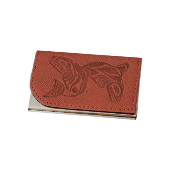Whales Business Card Holder in Brown