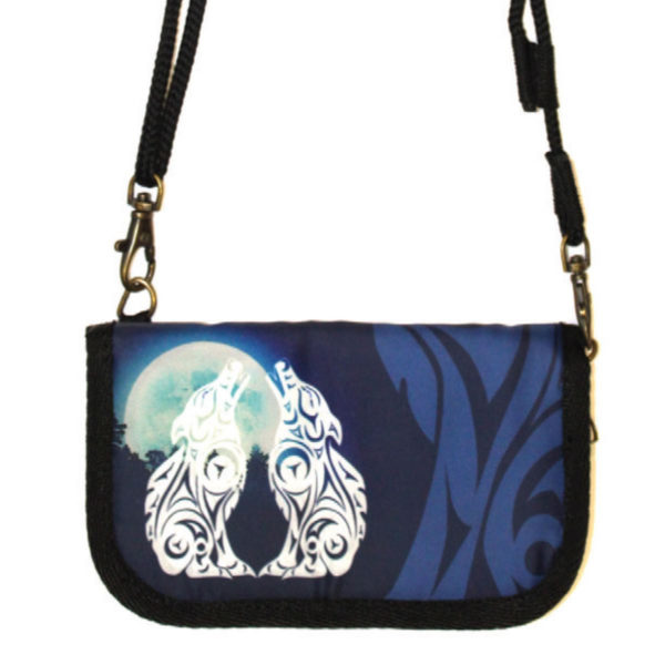 Blue and White Wolves Cross Body Zip wallet