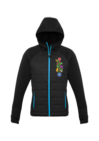 Black and Cyan Zip up Insulated Jacket