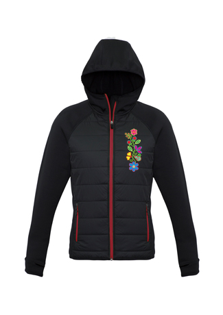 Black and Red Zip up Insulated Jacket