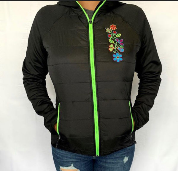 Black and Lime Zip up Insulated Jacket
