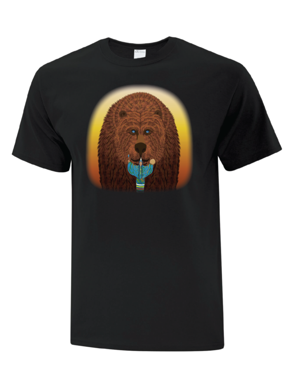 7 Teachings Black Tee- Courage, The Bear, Front