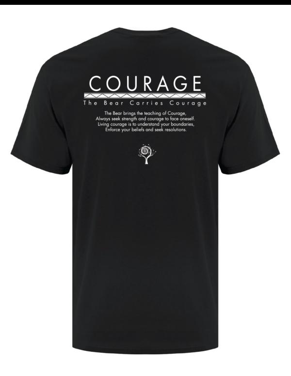7 Teachings Black Tee- Courage, The Bear. Back
