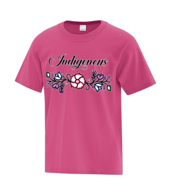 Indigenous Floral Youth Tee in Pink